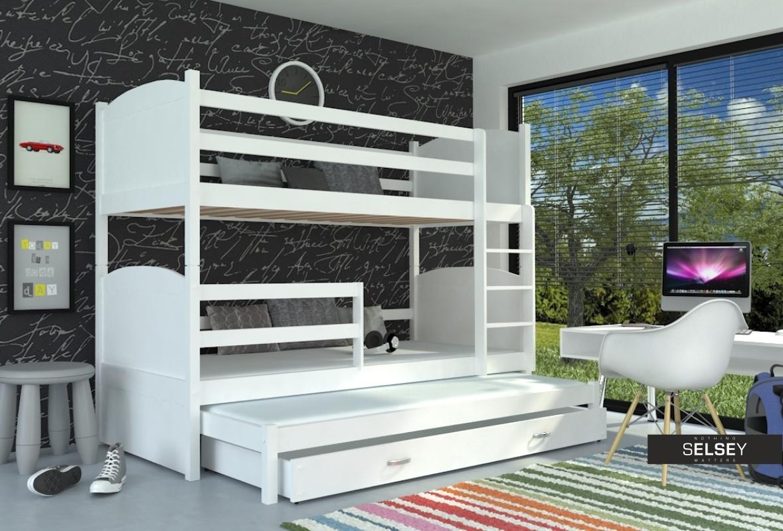 Etagenbett Drei Schlafplätzen : Etagenbett matek mit 3 schlafplätzen inkl. matratzen und bettkasten