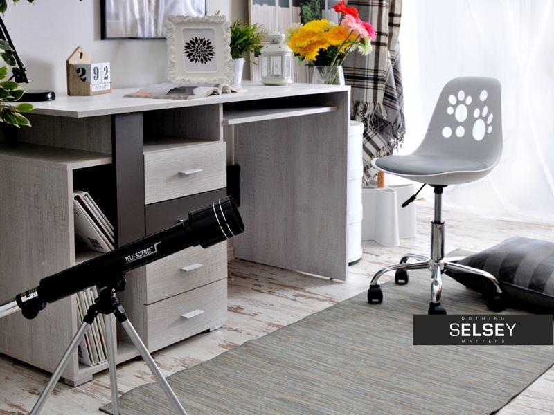 schreibtischstuhl foot wei grau. Black Bedroom Furniture Sets. Home Design Ideas