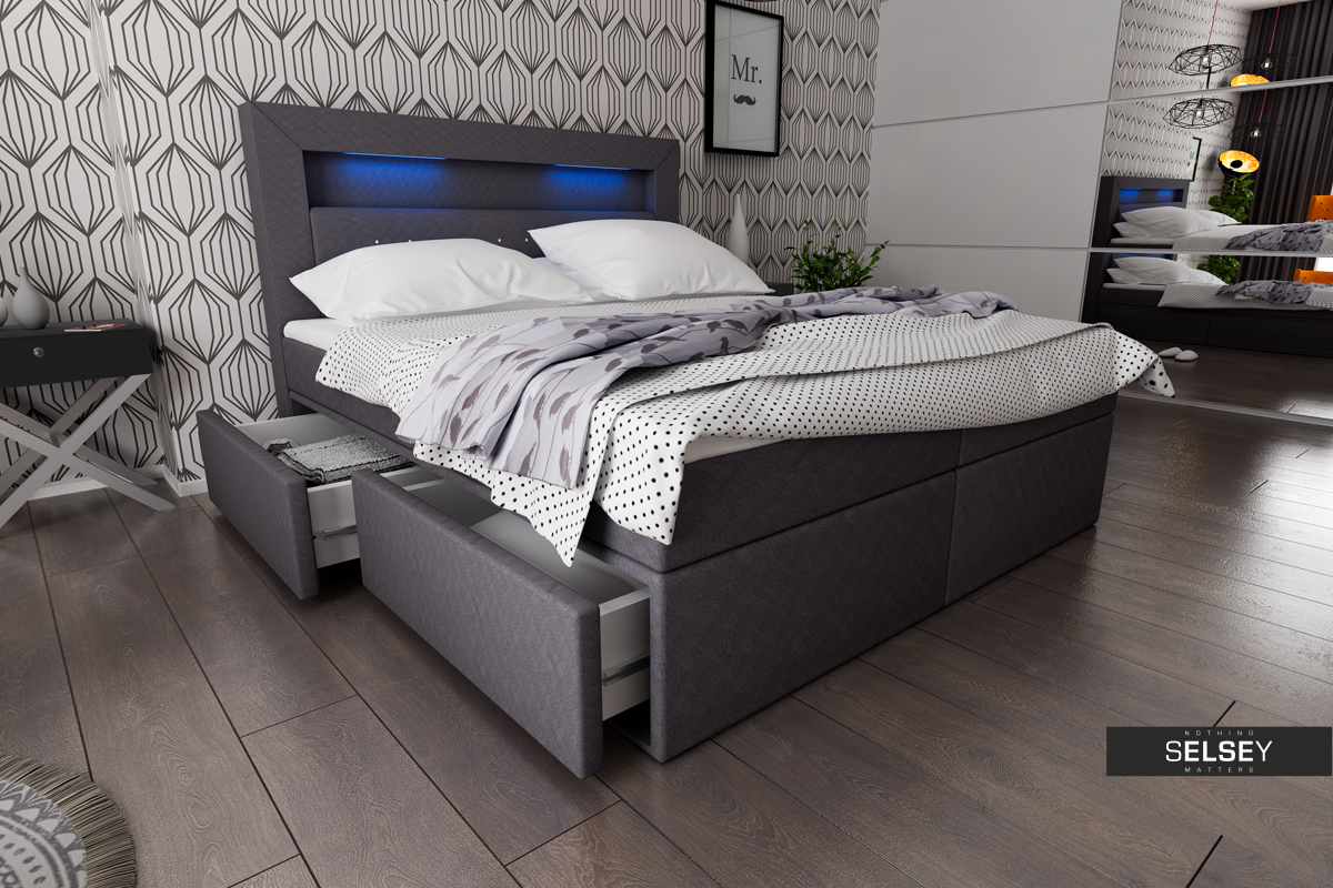 boxspringbett milos mit led. Black Bedroom Furniture Sets. Home Design Ideas