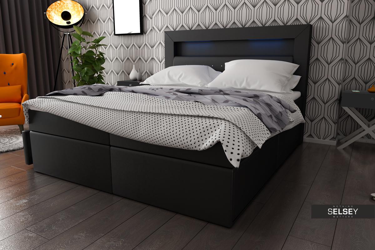 boxspringbett milos mit led. Black Bedroom Furniture Sets. Home Design Ideas