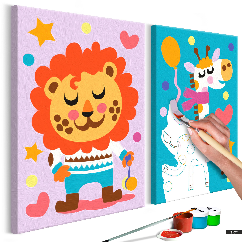 Malen Nach Zahlen 2er Set Löwe Und Giraffe 33x23 Cm