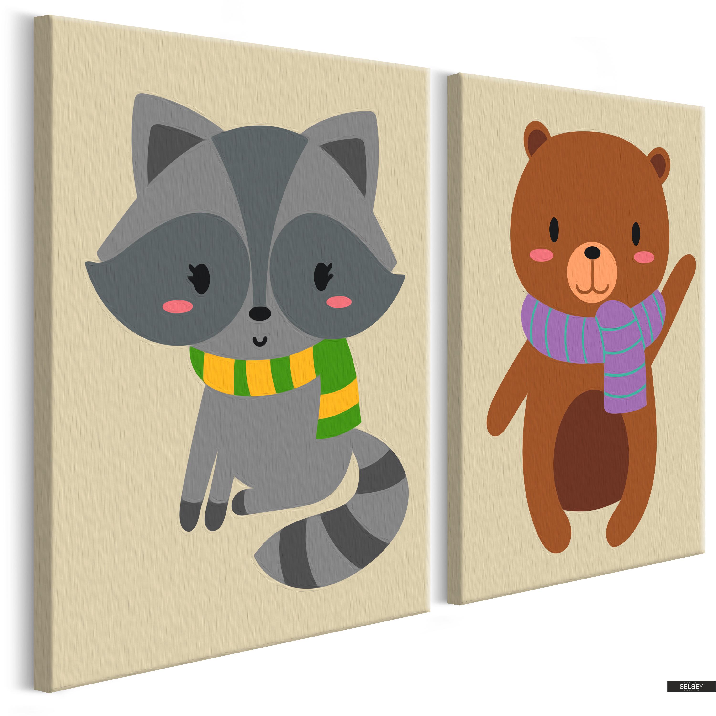 Ausmalbild Waschbär Und Teddy