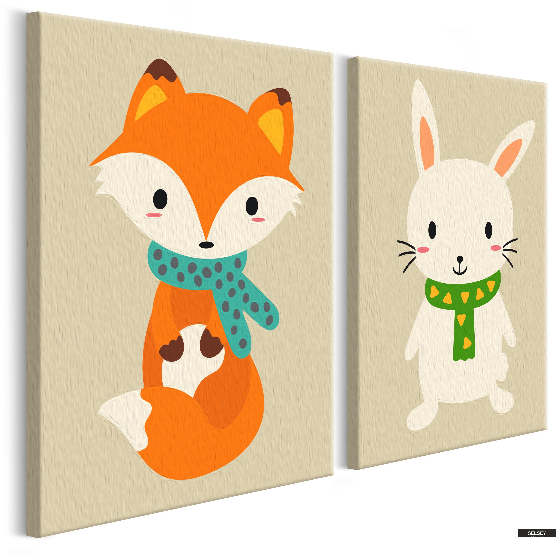 Malen Nach Zahlen 2er Set Fuchs Und Hase 33x23 Cm