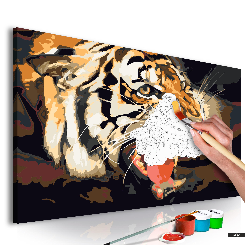 Malen Nach Zahlen Brüllender Tiger 60x40 Cm