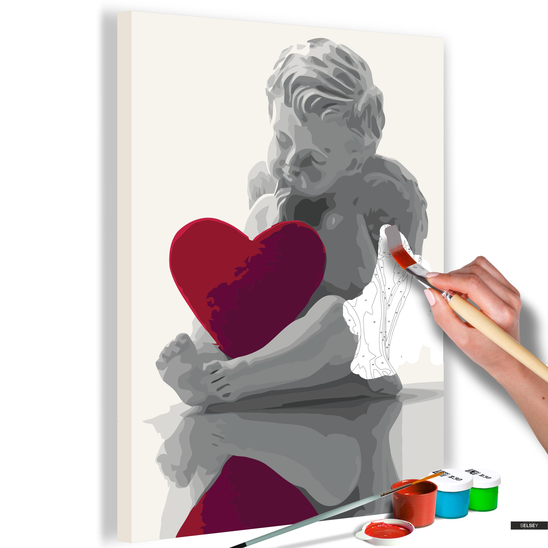 Ausmalbild Engel Mit Rotem Herz