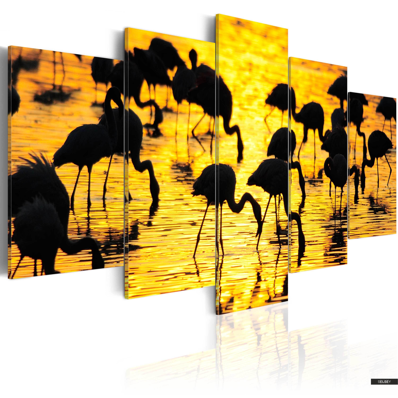 Obraz Flamingi Nad Morzem 200x100 Cm