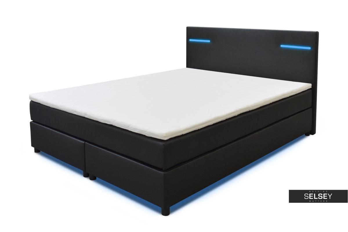 boxspringbett lumier mit led rgb und lichtwechselfunktion. Black Bedroom Furniture Sets. Home Design Ideas