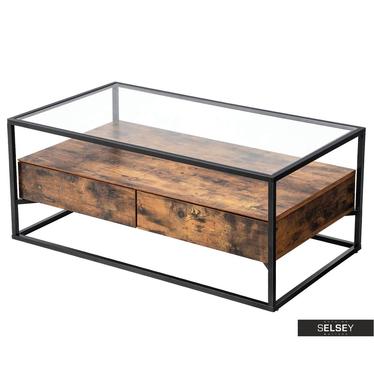 Couchtisch RAMIZU mit Glasplatte und zwei Schubladen