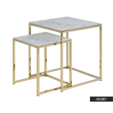 Beistelltisch BAKAR 2er-Set mit goldenen Füßen, 45x45 cm und 35x35 cm