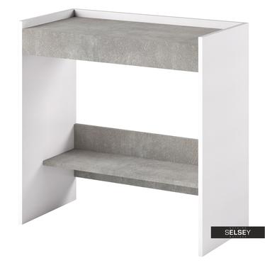 Schreibtisch LURDI italienischer Schminktisch in Weiß/Beton, ausziehbar
