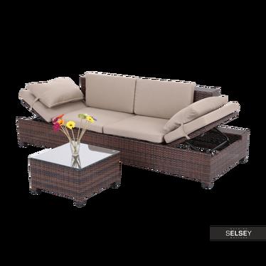 Outdoor-Sofa MAPLE II mit Tisch, braun