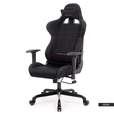 Gaming Stuhl MANJARAN schwarz mit roten Nähten