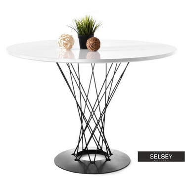 Esstisch TORNADO weiß/schwarz 100 cm