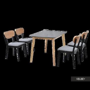 Essgruppe RASTO Tisch und 4 Stühle Eiche/schwarz/grau