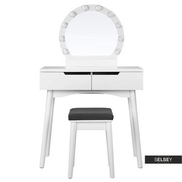 Schminktisch DERRA weiß mit rundem Spiegel Hocker und LED-Beleuchtung