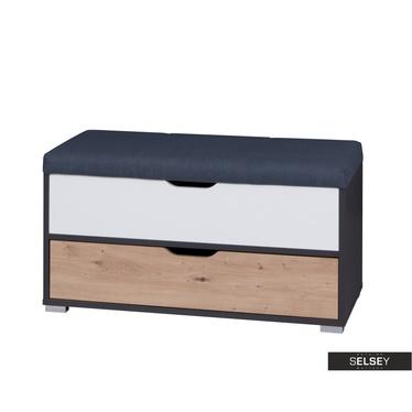 Sitzbank CASPE schwarzgrau/Eiche mit Stauraum