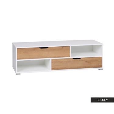 TV-Lowboard CASPE weiß mit 2 Schubladen 135 cm