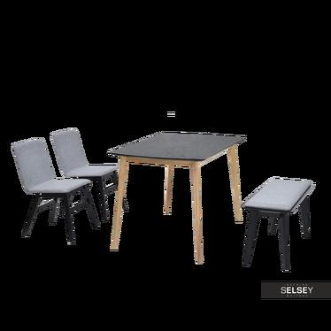Essgruppe KANTINO schwarz/Eiche mit Polsterstühlen und Sitzbank