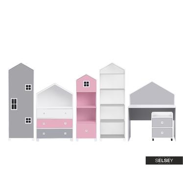 Kinderzimmer-Set VESPE rosa / grau mit Schreibtisch