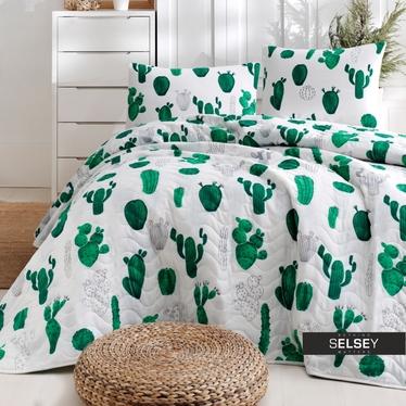 Tagesdecke KAKTUSSE 200x220 cm mit 2 Kissenbezügen 50x70 cm weiß/grün