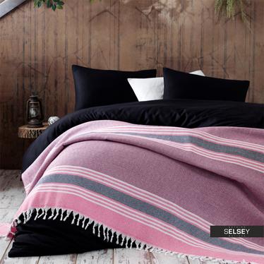 Tagesdecke AZTEC 200x240 cm gestreift pastellviolett/rosa mit Fransen