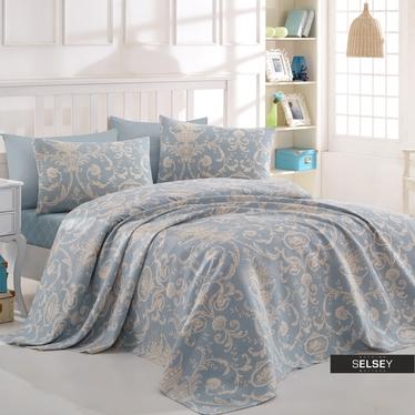 Tagesdecke ANDRIEL in Blau/Beige 200x235 cm mit zwei Kissenbezügen 50x70 cm