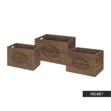 Holzkisten 3er-Set braun