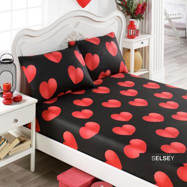 Bettlaken HERZEN 100x200 cm und 2 Kissenbezüge 50x70 cm schwarz/rot