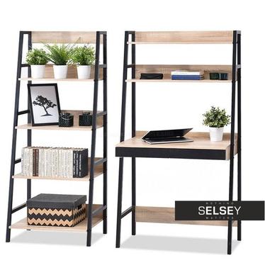 Schreibtisch-Set BERG mit Stehregal schwarz/Sonoma Eiche