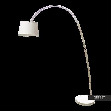 Stehlampe HEIDI Bogenlampe in Weiß mit Zement-Standfuß