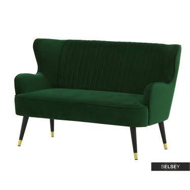 Sofa DERIOR dunkelgrün mit Samtbezug