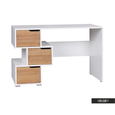 Schreibtisch CASPE weiß/Holzoptik 120 cm