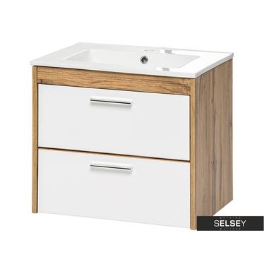 Waschbeckenunterschrank GALICIA Eiche Wotan/Weiß 60 cm