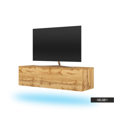 TV-Board SKYLARA in Wotan Eiche mit LED in Blau
