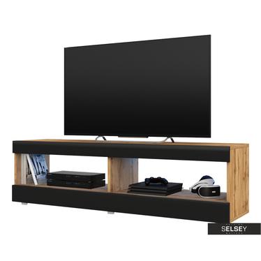 TV-Lowboard VIANSOLA Holzoptik/Schwarz Hochganz 140 cm
