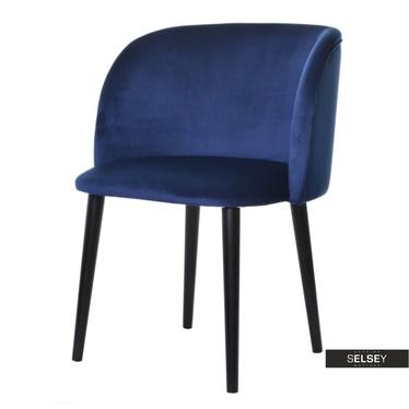 Stuhl LIVENNA dunkelblau mit schwarzen Holzbeinen