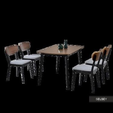 Essgruppe RASTO Tisch und 4 Stühle Nussbaum/schwarz/grau