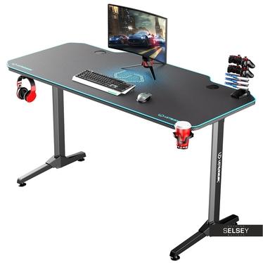 Gaming Tisch GAMORA Schwarz / Blau 140 cm breit