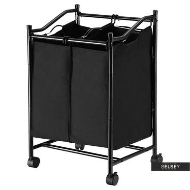 Wäschekorb BARATINS schwarz mit 2 Kammern