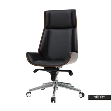 Bürostuhl DERDIVE Schwarz / Nussbaum mit Kunstlederbezug