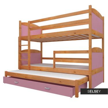 Etagenbett MATEK mit 3 Schlafplätzen, inkl. Matratzen und Bettkasten