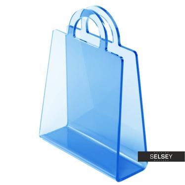Zeitungsständer BOLSA blau transparent