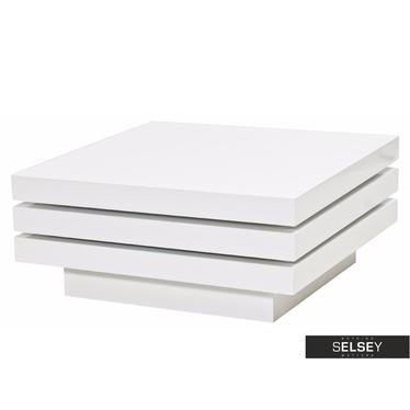 Couchtisch HAZIN 80x80 cm weiß mit drehbaren Tischplatten