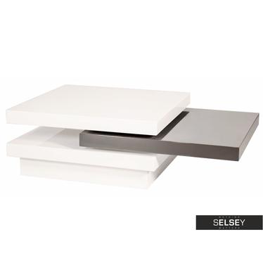 Couchtisch HAZIN 80x80 cm weiß/grau mit drehbaren Tischplatten