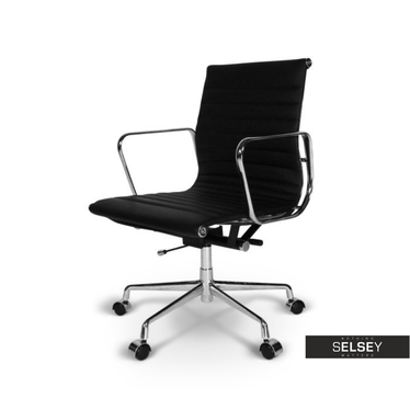 Drehstuhl im Stil EAMES 117 schwarz mit Lederbezug