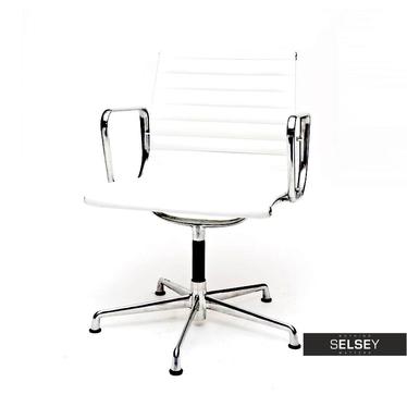 Drehstuhl im Stil EAMES 108 weiß mit Lederbezug