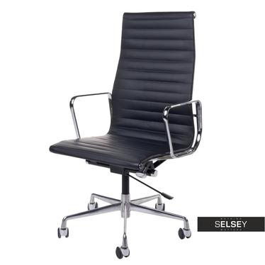 Drehstuhl im Stil EAMES 119 schwarz mit Lederbezug