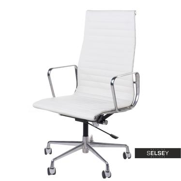 Drehstuhl im Stil EAMES 119 weiß mit Lederbezug