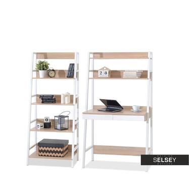 Schreibtisch-Set BERG mit Stehregal weiß/Sonoma Eiche