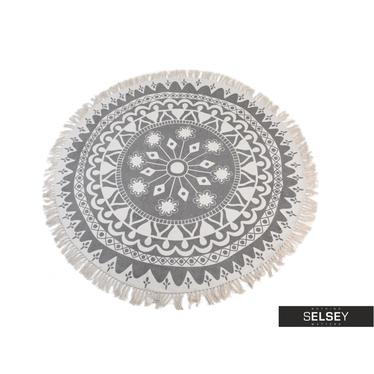 Fransenteppich 150 cm rund schwarz/weiß (hell)